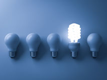 Energy saving light bulb , one glowing compact fluorescent lightbulb standing out from unlit incandescent bulbs. On blue background , individuality and Stock Image