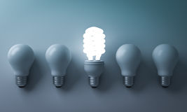 Energy saving light bulb , one glowing compact fluorescent lightbulb standing out from unlit incandescent bulbs Stock Photo