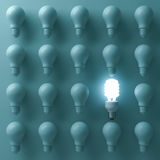 Energy saving light bulb , one glowing compact fluorescent lightbulb standing out from unlit incandescent bulbs. On green background , individuality and Stock Images
