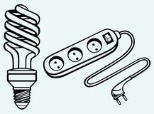 Energy saving light bulb and power surge. Image isolated on blue background Stock Images
