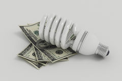 Energy saving light bulb, save energy and money. On grey background Stock Image