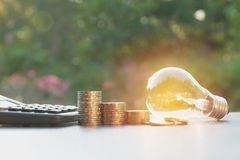 Energy saving light bulb with stacks of coins and calculator. For financial, accounting and saving concept Stock Photo