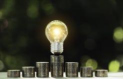 Energy saving light bulb  stacks of coins on nature background. Energy saving light bulb stacks of coins on nature background royalty free stock images