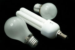 Energy saving light bulb and tungsten Royalty Free Stock Photo