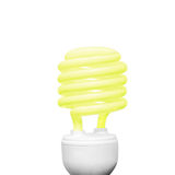 Energy saving light bulb on white background square composition yellow Stock Images