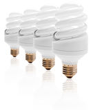 Energy saving light bulbs. Isolated in white background Stock Photo