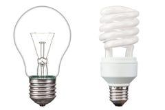 Energy saving light bulbs. On white background Royalty Free Stock Photography
