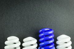 Energy saving light bulbs business concept of Differentiation. On black paper Royalty Free Stock Photos