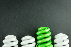 Energy saving light bulbs business concept of Differentiation Stock Photo