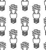 Energy saving light bulbs seamless pattern. Vector. Royalty Free Stock Photography