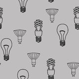 Energy saving light bulbs seamless pattern. Vector. Royalty Free Stock Photos