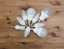 Energy saving and light emitting LED bulbs Royalty Free Stock Image