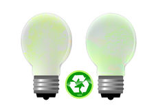 Energy saving lightbulb. With recycle sign Royalty Free Stock Photos