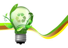 Energy saving lightbulb. With recycle sign Stock Photography