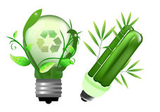 Energy saving lightbulb. With recycle sign Royalty Free Stock Photography