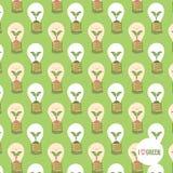 Energy saving lightbulb in cartoon style. Pattern vector Illustration Stock Image