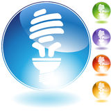 Energy Saving Lightbulb Crystal Icon Stock Photos