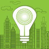 Energy saving lightbulb in front of the skyscrapers. Eco lighting concept. Big white energy saving lightbulb in front of the skyscrapers silhouettes. Digital Stock Photos