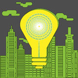 Energy saving lightbulb in front of the skyscrapers. Eco lighting concept. Big yellow energy saving lightbulb in front of the skyscrapers silhouettes. Digital Royalty Free Stock Photos