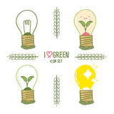Energy saving lightbulb set in cartoon style Stock Images