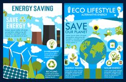 Vector posters for green energy or ecology saving. Energy saving and nature conservation ecology posters of planet pollution plants and green eco environment Stock Photography