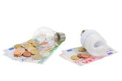 Energy saving and normal   bulbs on euro money. Energy saving and normal  lamp bulbs on euro money  isolatd on white Stock Image