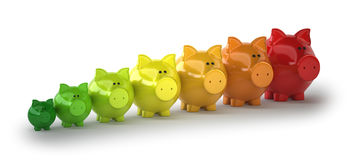 Energy-saving pigs. Isolated white background Stock Images