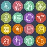 Energy-saving reeks gekleurde pictogrammen Royalty-vrije Stock Afbeeldingen