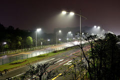 The energy saving streetlights made by LED. (Light Emitting Diode)in the light rain Stock Image