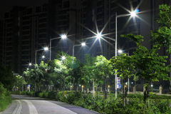 The energy-saving streetlights made by LED Royalty Free Stock Images