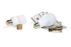 Energy-saving van het geldeind lampen Stock Foto