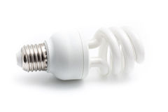 Energy saving white light bulb isolated on white background with Royalty Free Stock Photo
