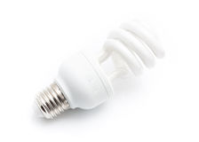Energy saving white light bulb isolated on white background with Royalty Free Stock Image
