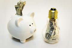Energy savings. Piggy bank and light bulb bank with currency in them Stock Images