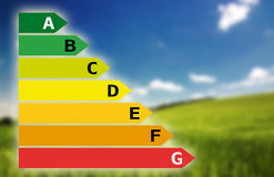 Energy savings chart with landscape Stock Photography