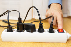 Energy savings with turning off electrical appliances Stock Photos
