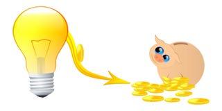 Energy savings. Vector illustration of light bulb,price down arrow and  piggy bank Stock Photo