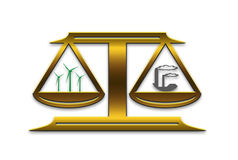 Energy scale. Balance between clean wind energy and dirty fossil-fuel and coal fired plants Stock Photography