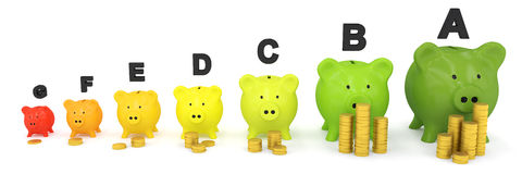 Energy scale made out of piggy banks and coins Royalty Free Stock Photo