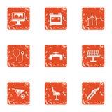 Energy setting icons set, grunge style. Energy setting icons set. Grunge set of 9 energy setting vector icons for web isolated on white background Royalty Free Stock Photos