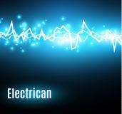 Energy shock effect with many glowing particles. Electric discharge on blue background. Vector illustration Stock Photos