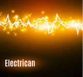 Energy shock effect with many glowing particles. Electric discharge on yellow background. Stock Photography