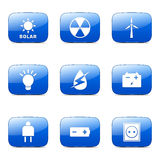 Energy Sign And Symbol Square Vector Blue Icon Stock Image