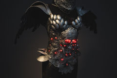 Energy silver armor skull with red eyes and led lights, helmet m Stock Photo