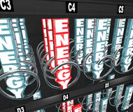 Energy Snack Vending Machine Power Bar Nutritional Food Protein. Energy word in 3d letters in a snack or vending machine to illustrate nutritional foods on the Royalty Free Stock Photo