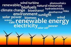 Energy sources. Sources for sustainable and renewable energy royalty free illustration