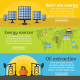 Energy sources banner horizontal set, flat style. Energy sources banner horizontal concept set. Flat illustration of 3 energy sources vector banner horizontal Stock Images