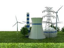 Energy Sources. On the Green Earth Royalty Free Stock Images