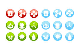 Energy sources icon set by danger Stock Photo