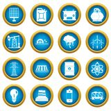 Energy sources items icons blue circle set Stock Images